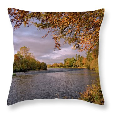 Autumn Light By The River Ness Throw Pillow