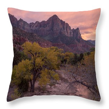Throw Pillow featuring the photograph Autumn Light Over The Watchman by Patricia Davidson