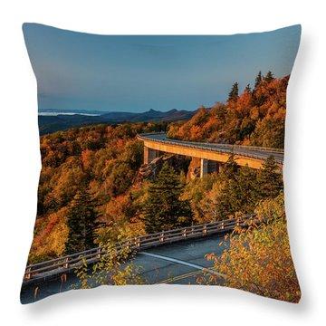 Morning Sun Light - Autumn Linn Cove Viaduct Fall Foliage Throw Pillow