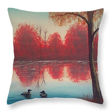 Autumn Loons Throw Pillow