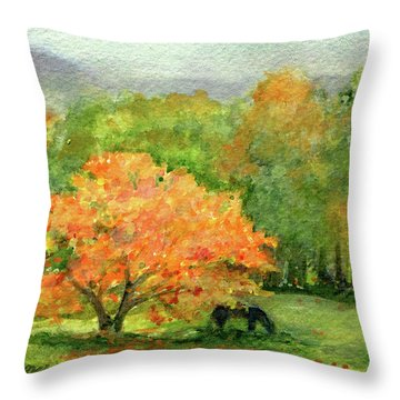Autumn Maple With Horses Grazing Throw Pillow