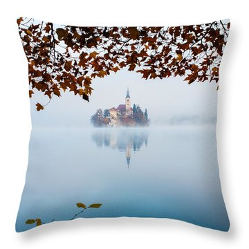 Throw Pillow featuring the photograph Autumn Mist Over Lake Bled by Ian Middleton