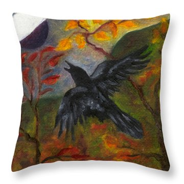 Autumn Moon Raven Throw Pillow