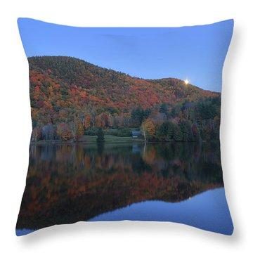 Autumn Moonrise In The Green Mountains Throw Pillow by John Burk