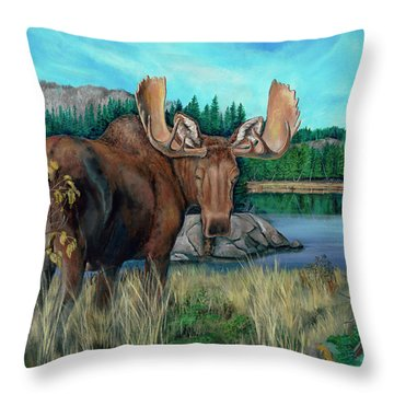 Autumn Moose Throw Pillow