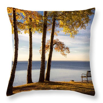 Autumn Morn On The Lake Throw Pillow by Mary Amerman