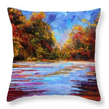 Autumn Morning Throw Pillow by Debra Hurd