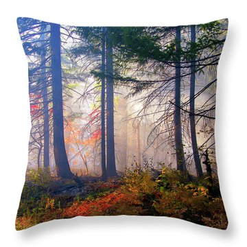 Autumn Morning Fire And Mist Throw Pillow