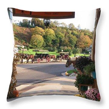 Autumn Morning On Mackinac Island Throw Pillow