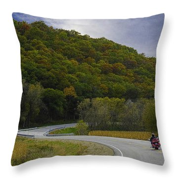 Autumn Motorcycle Rider / Red Throw Pillow