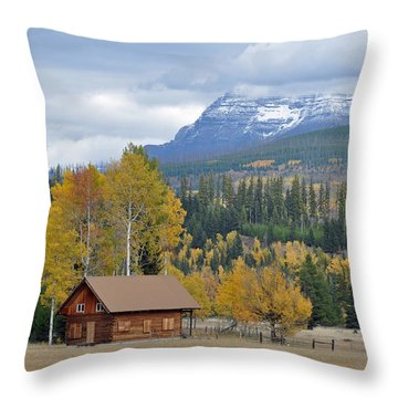 Autumn Mountain Cabin In Glacier Park Throw Pillow