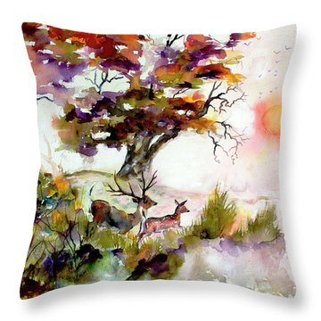 Autumn Oak And Deer Sunset  Throw Pillow