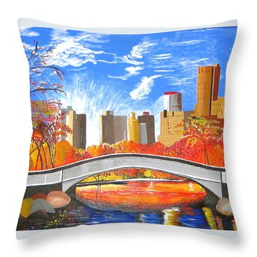 Autumn Oasis Throw Pillow by Donna Blossom