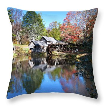 Autumn On The Blue Ridge Parkway At Mabry Mill Throw Pillow