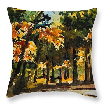 Autumn On The Natchez Trace Throw Pillow by Spencer Meagher