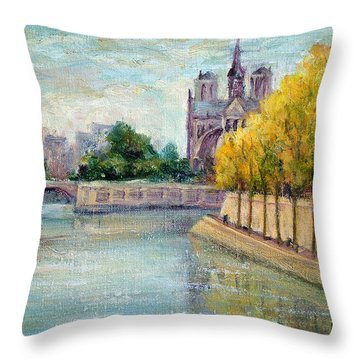 Autumn On The Seine Throw Pillow by Jill Musser