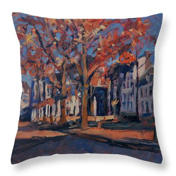 Autumn On The Square Of Our Lady Maastricht Throw Pillow by Nop Briex