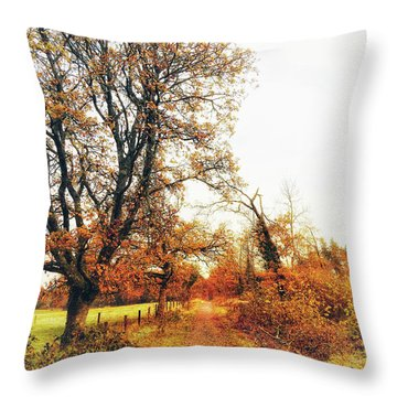 Autumn On White Throw Pillow