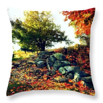 Throw Pillow featuring the painting Autumn Orchard by Janine Riley