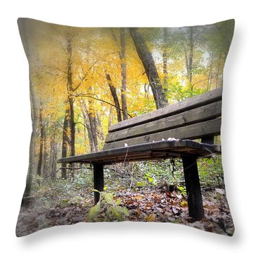 Autumn Park Bench Throw Pillow by Bonfire Photography