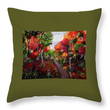 Throw Pillow featuring the painting Autumn Path by Sonya Nancy Capling-Bacle