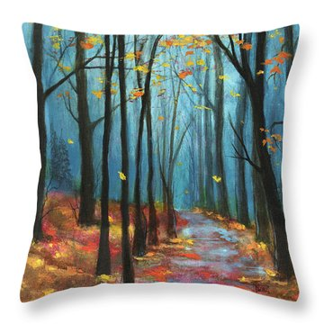 Autumn Path Throw Pillow by Terry Webb Harshman