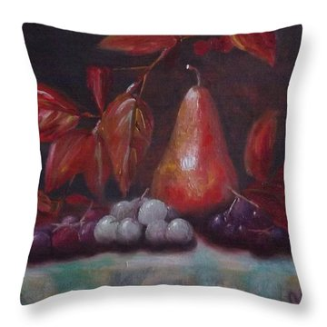 Autumn Pear With Grapes Throw Pillow