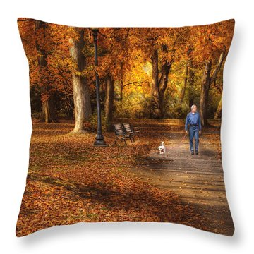 Autumn - People - A Walk In The Park Throw Pillow by Mike Savad