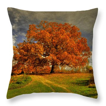 Autumn Picnic On The Hill Throw Pillow