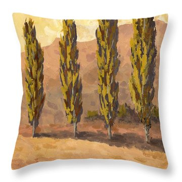 Autumn Poplars Throw Pillow