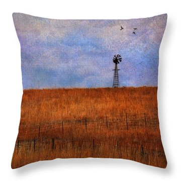 Autumn Prairie Windmill Throw Pillow