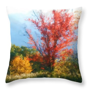 Autumn Red And Yellow Throw Pillow