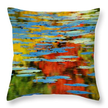 Throw Pillow featuring the photograph Autumn Lily Pads by Diana Angstadt