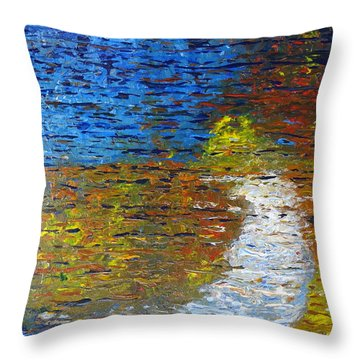 Throw Pillow featuring the painting Autumn Reflection by Jacqueline Athmann