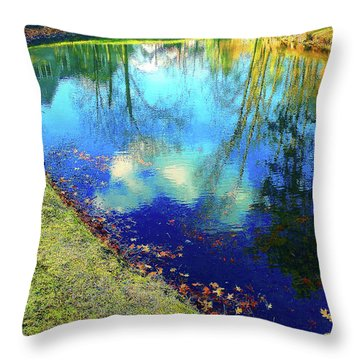 Autumn Reflection Pond Throw Pillow