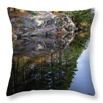 Autumn Reflections At Runaround Pond In Durham Maine  -20224 Throw Pillow