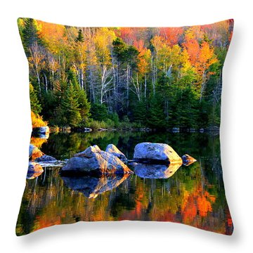'autumn Reflections - Noyes Pond' Throw Pillow
