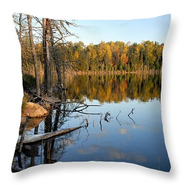 Autumn Reflections On Little Bass Lake Throw Pillow