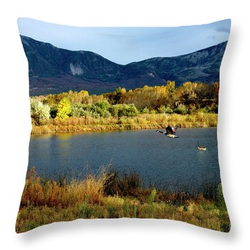 Autumn Rest Stop For Canadian Geese Throw Pillow
