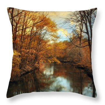 Autumn River Lights Throw Pillow by Jessica Jenney