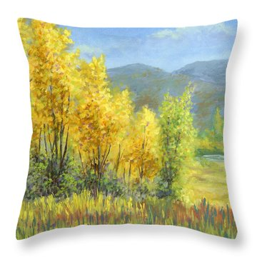 Autumn River Valley Throw Pillow