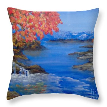 Throw Pillow featuring the painting Autumn by Saundra Johnson