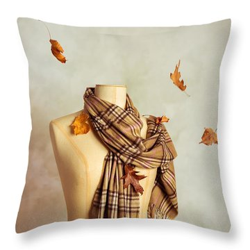Autumn Scarf Throw Pillow