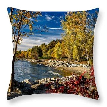 Autumn Scene Lake Ontario Canada Throw Pillow