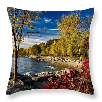Autumn Scene Lake Ontario Canada Throw Pillow