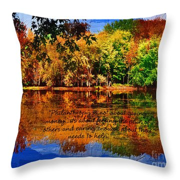 Throw Pillow featuring the painting Autumn Serenity Philanthropy Painted by Diane E Berry