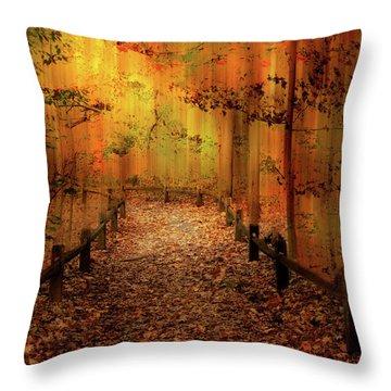 Throw Pillow featuring the photograph Autumn Silkscreen by Jessica Jenney