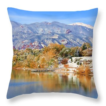 Autumn Snow At The Lake Throw Pillow