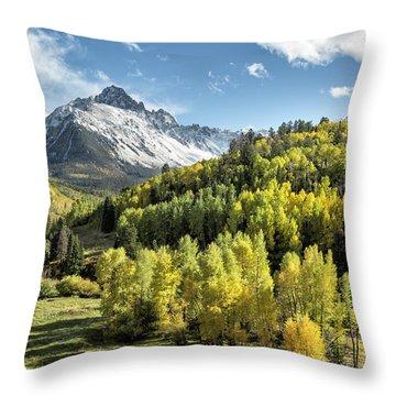 Autumn Snow On Sneffels Throw Pillow