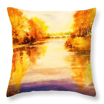 Throw Pillow featuring the painting Autumn Gateway by Al Brown